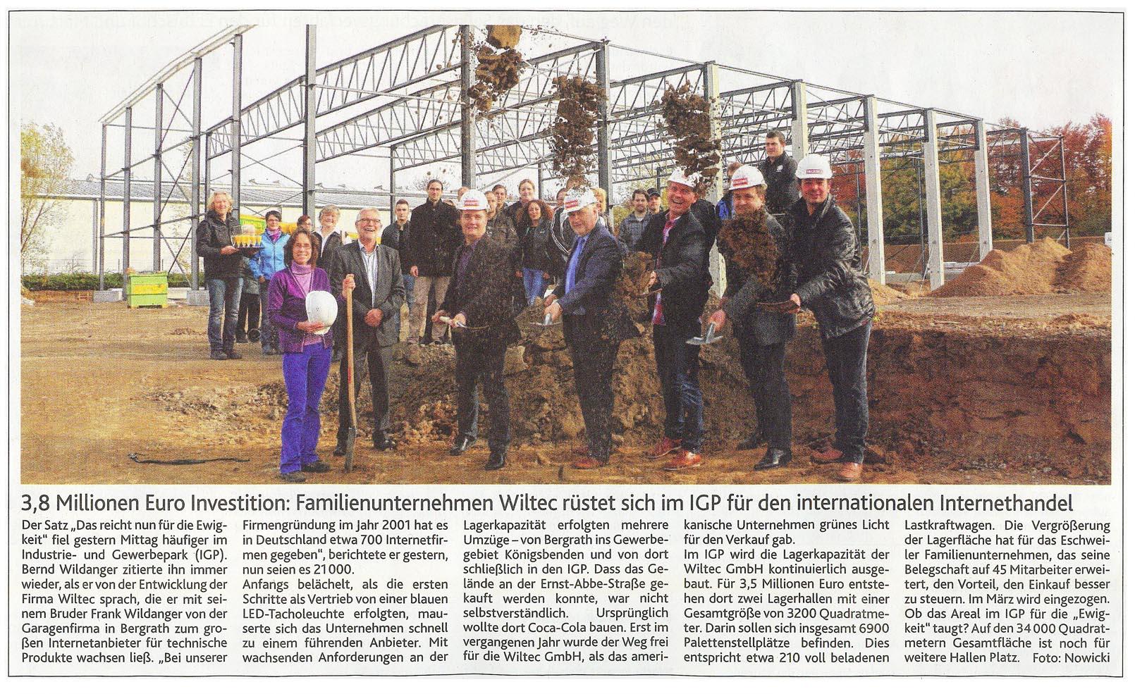 Newspaper: WilTec 3,5 million Euro Investment