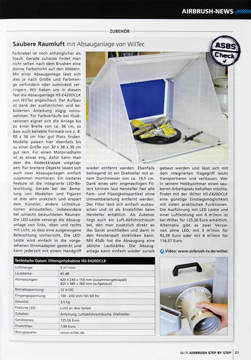 Airbrush WilTec Absauganlage Artikel